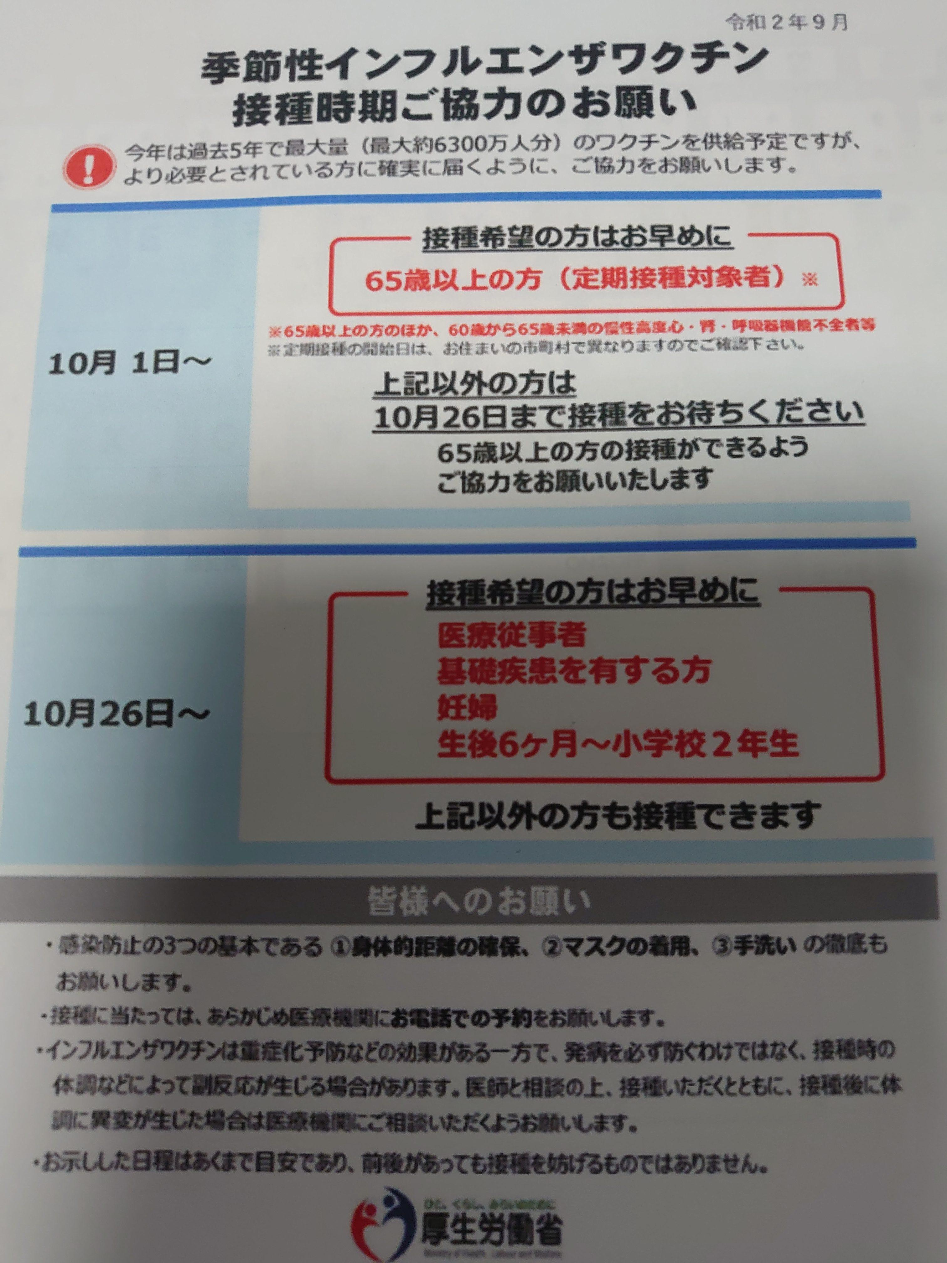 労働省 インフルエンザ ワクチン 厚生